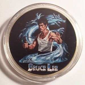034-Bruce-Lee-034-Colour-Printed-999-24k-Gold-plated-coin-token-Martial-Arts