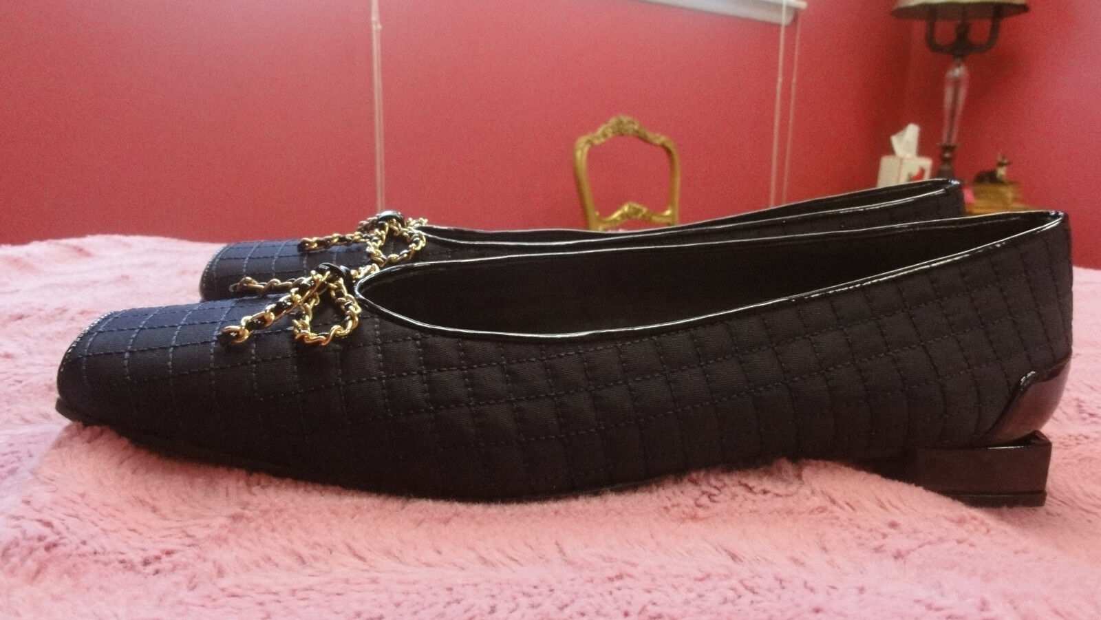 NEW STUART WEITZMAN BALLET FLATS FLATS FLATS NAVY BLACK QUILTED WITH BOWS SIZE 10 USA 11f274