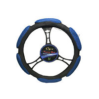 6 Grip Mesh Blue & Black Steering Wheel Cover Soft Universal 14.5-15.5''