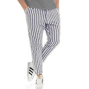 Pantalone-Uomo-a-Righe-Fantasia-Multicolore-Rigato-LINO-Tasca-America-BLU-NERO