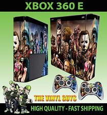 XBOX 360 E SUPER SLIM HORROR MONTAGE EVIL VILLAINS  STICKER SKIN & 2 PAD SKIN