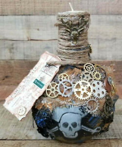 Steampunk-Bottle-Hand-Decorated-Cannonball-Tea-Light-Pirate-Candle-Handmade