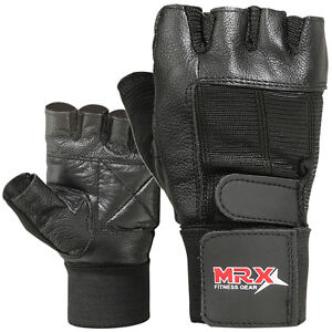 Weight-Lifting-Gym-Gloves-Fitness-Training-Workout-Leather-Exercise-Black-MRX