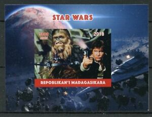 Madagascar 2018 MNH Star Wars Han Solo Chewbacca 1v Impf Deluxe S/S Stamps