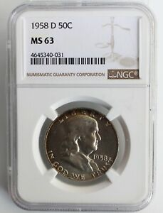 1958-D-Franklin-Silver-Half-Dollar-Coin-Certified-NGC-MS-63-Fifty-Cent-Coin-K6