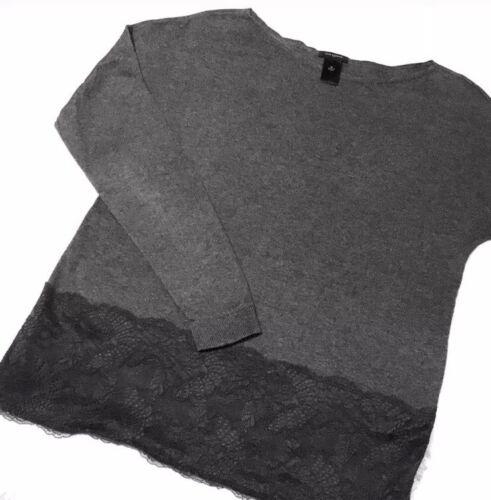 Ann Taylor Lace Panel Trim Sweater Knit Top Size M