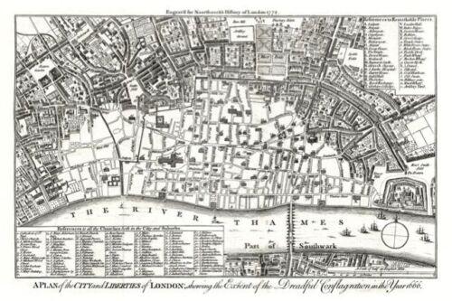 1772 1666 unique 18x12 inch print London fire map