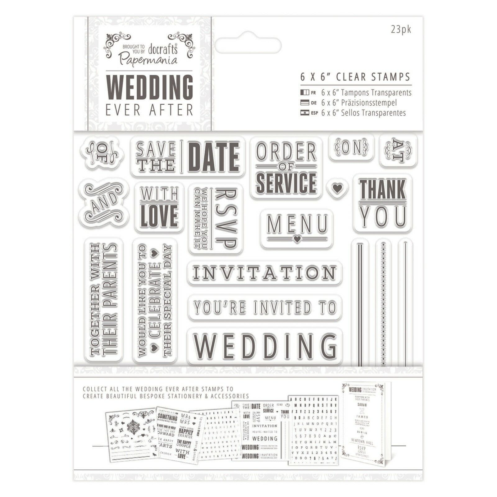Papermania WEDDING EVER AFTER Rubber Stamp Set Save the Date ...