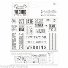 Papermania WEDDING EVER AFTER Rubber Stamp Set Save the Date Invitation Menu A56