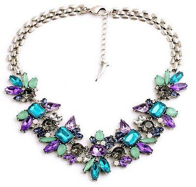 Women Jewelry Chain Pendant Crystal Choker Chunky Statement Chain Bib Necklace