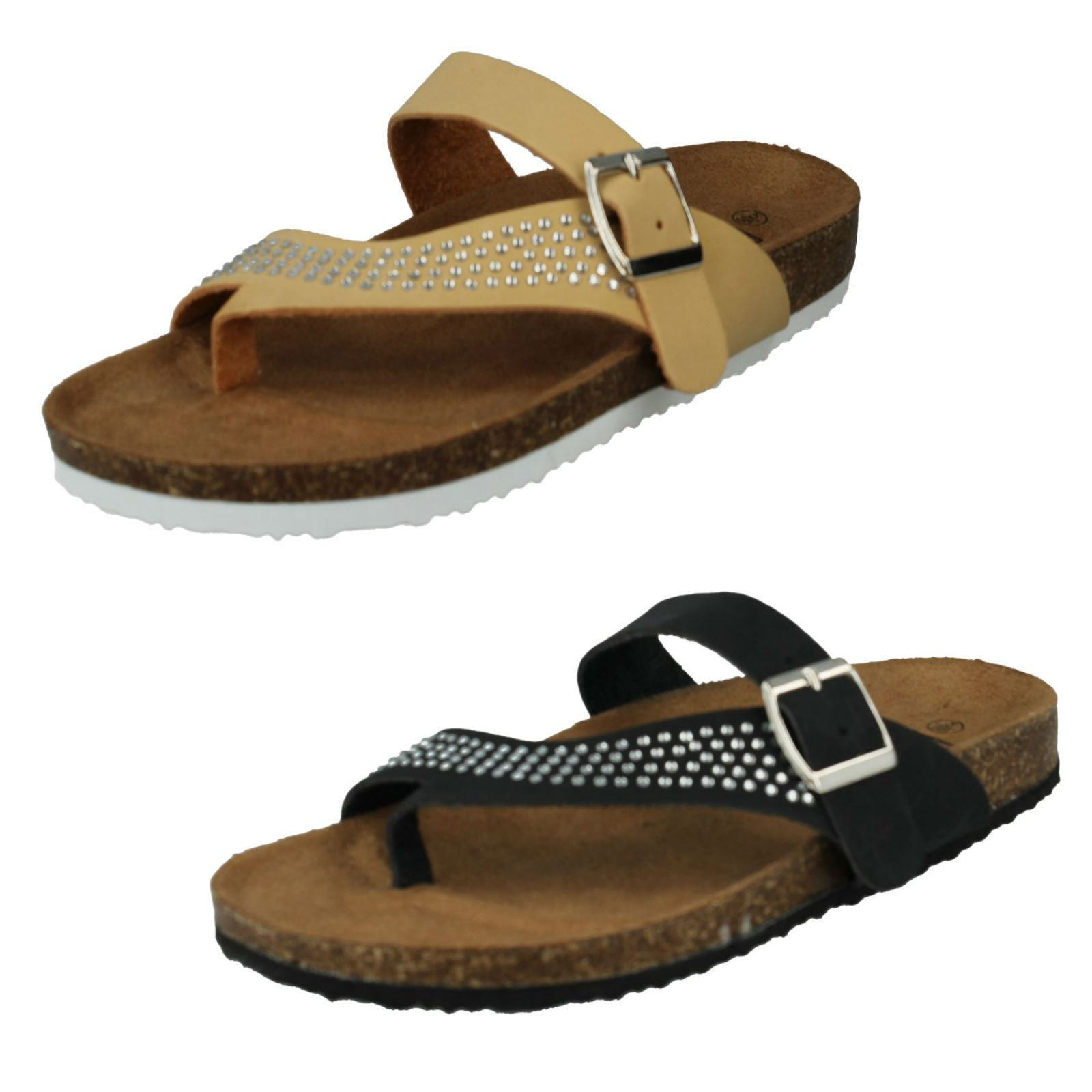LADIES STRAP DOWN TO EARTH TOE POST DIAMANTE BUCKLE STRAP LADIES MULES SUMMER SANDALS F0R0046 d34d85
