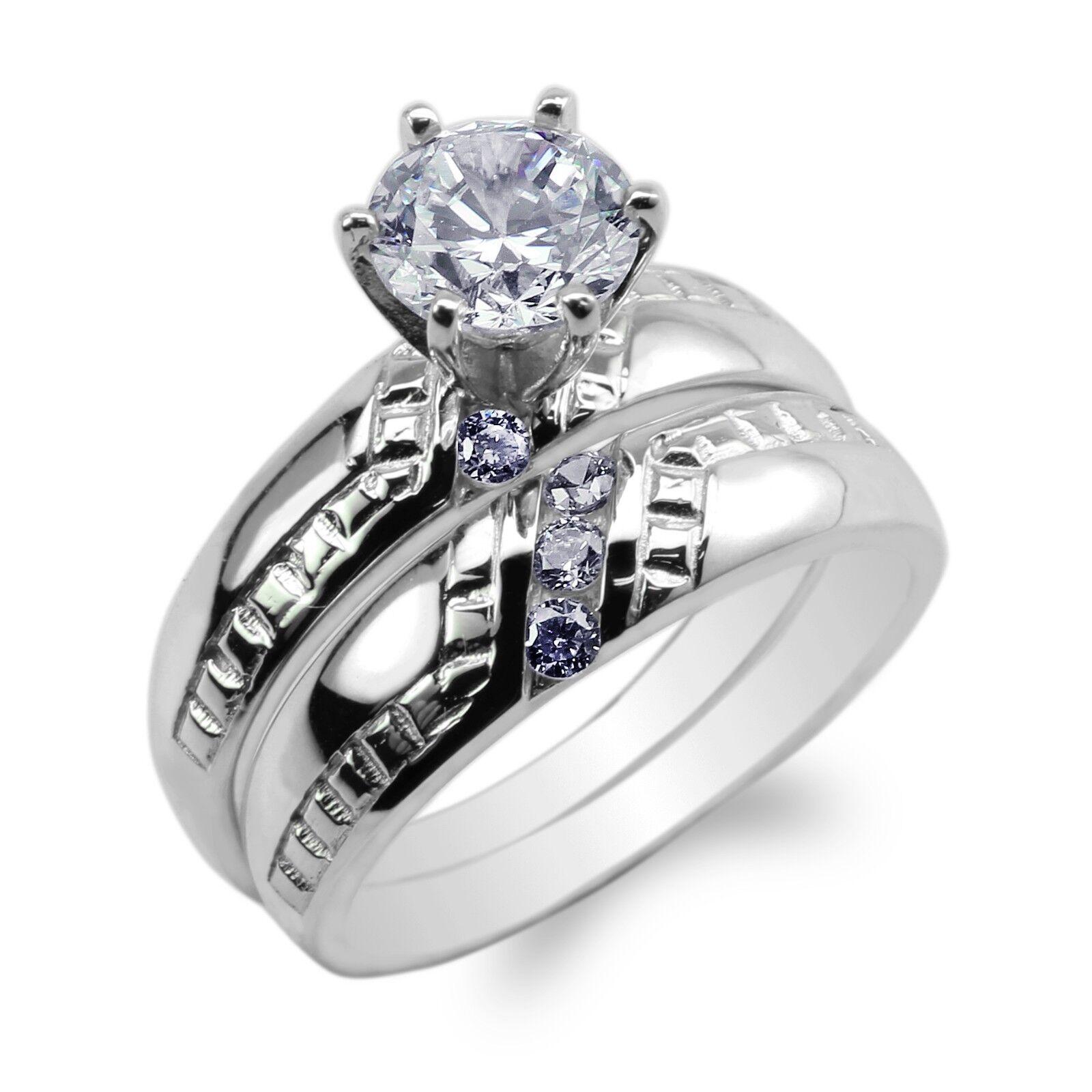 Womens Duo Set 10K 14K White gold Round CZ Stylish Engagement Ring Size 4-9