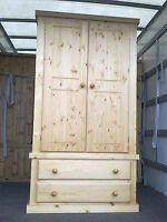 Old Mill Factory Direct Pine Gents 2 Drawer Wardrobe Not Flat Pk
