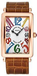 Franck Muller Womens Long Island Brown Leather Strap Quartz Watch 1002QZMGCL5NBR