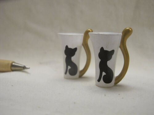 U134 Dollhouse 2pcs White Cat Cups w// Ear Dinner Kitchen Miniature re-ment 1:12