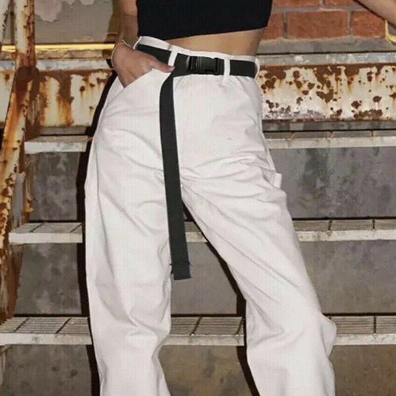 Black Canvas Waist Belt Fashion Casual Tape Long Belts Plastic Adjustable Buc DS