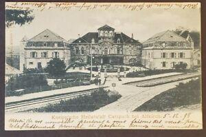 1898-Muhlhausen-Germany-Strasbourg-Alsace-France-Railroad-Station-Postcard-Cover
