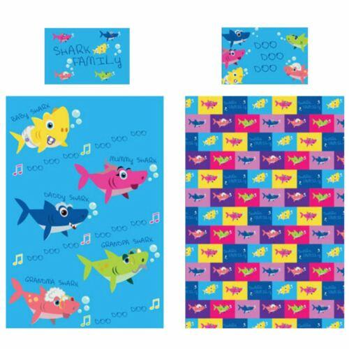 Shark Famille Enfant Junior Housse de couette et taie d/'oreiller colorées