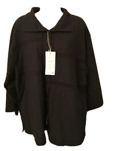 NWT-425-Yacco-Maricard-cotton-jersey-calico-jacket-black-one-size-buttons