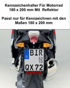 Kennzeichenhalter Motorrad 180 x 200 mm Mit Rückstrahler Reflektor mit Zulassung