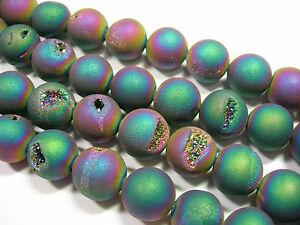 Awesome-Titanium-Plated-Agate-Druzy-Round-beads-14mm-8-034-strand