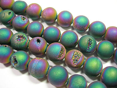 """Awesome Titanium Plated Agate Druzy Round beads 14mm - 8"""" strand"""