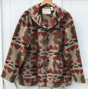 Orvis-Men-039-s-Southwestern-Wool-Blend-Button-Front-Aztec-Jacket-Coat-M-Medium