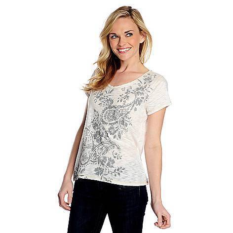 NEW WHITE One World Burnout Knit Short Sleeved Embellished Printed Tee