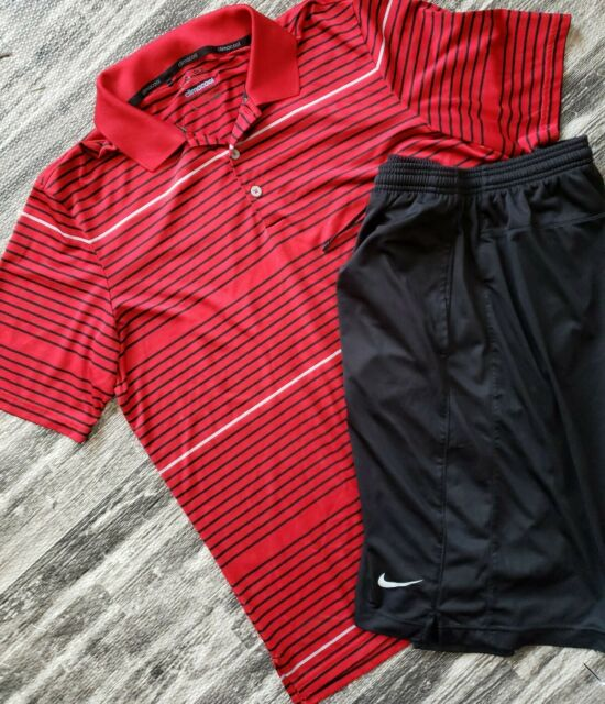 adidas GOLF CLIMACOOL Men's L RED Polo Shirt NIKE DRI-FIT BLACK SHORTS 2XL LOT