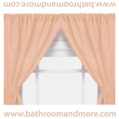 Carnation Home Fashions Vinyl Bathroom Window Curtain 2 Panels with Tie Backs