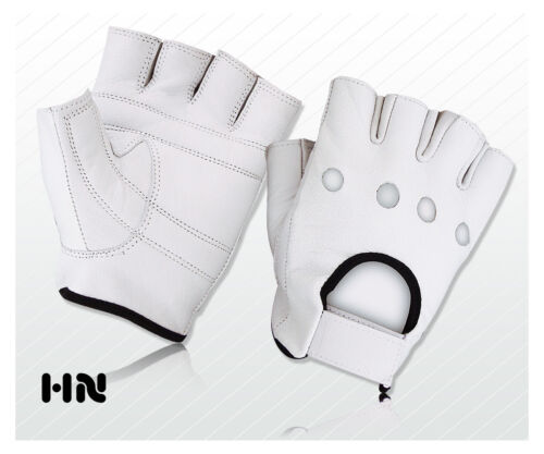 FULL LEATHER PADDED WEIGHT LIFTING GLOVES TRAINING CYCLING GYM DRIVING MOTORBIKE