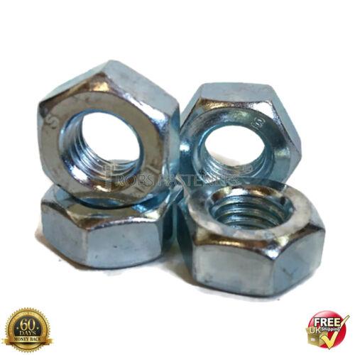 M3 3mm FULL NUTS HEX HEXAGON NUT HIGH TENSILE STEEL ZINC PLATED METRIC DIN 934