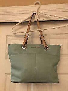 58f720b650957d Michael Kors Bedford Leather Top Zip Pocket Tote Shoulder Bag Dusty ...