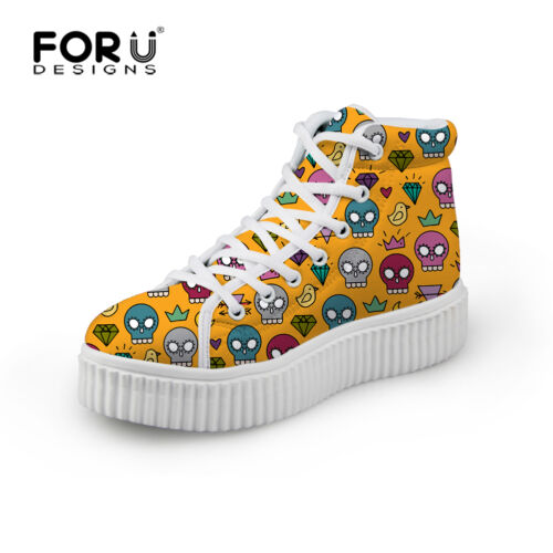 Skull High Top Trainers Ankle Boots Creeper Shoes Zapatos Mujer Sneakers Women/'s