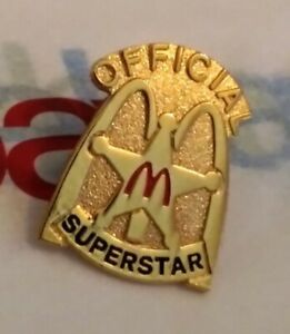 Vintage Official McDONALDS Super STAR Sheriff BADGE Golden ARCHES Gold Toned Pin