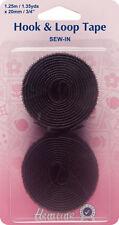 Hemline - Sew-In Hook & Loop Tape: Black Value Pk 20mm