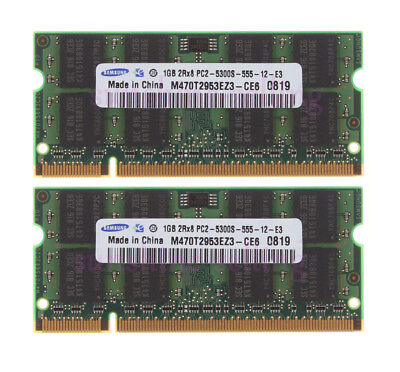 For Samsung 2x 2GB DDR2 667Mhz PC2-5300 CL5 200Pin Laptop SDRAM Memory RAM @10H