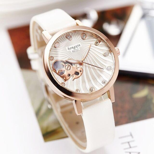 Faux Leather Rose Gold Rhinestone Stylish Heart Women's Quartz Dress Watches