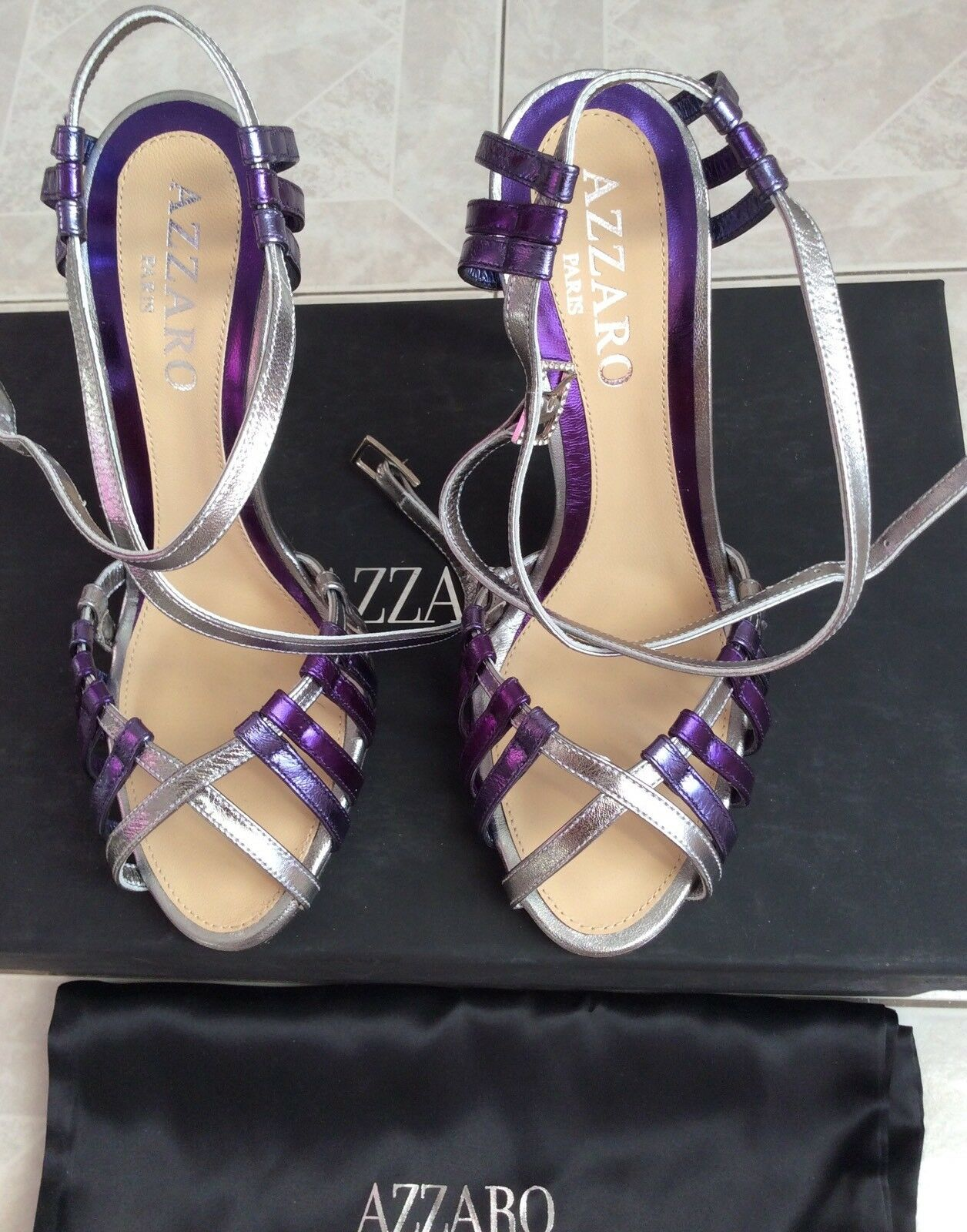 Azzaro Sandals zapatos plata púrpura Leather Talla 36. 36. Talla New 21268f