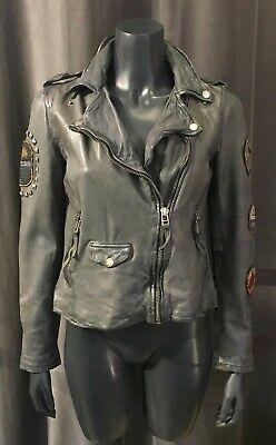 Details zu FREAKY NATION Lederjacke Bikerjacke grau mit Patches Nieten SOUTH EAST LADY F1