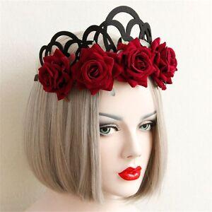 Gothic-Women-Rose-Headband-Floral-Queen-Crown-Elastic-Wear-Punk-Hair-Accessories