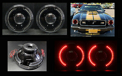 """H6012 H6015 H6024 7"""" Red LED Halo Black Projector Headlights"""