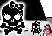 1x Autoaufkleber Totenkopf Skull Prinzessin Auto Aufkleber Princess Schleife Hdd