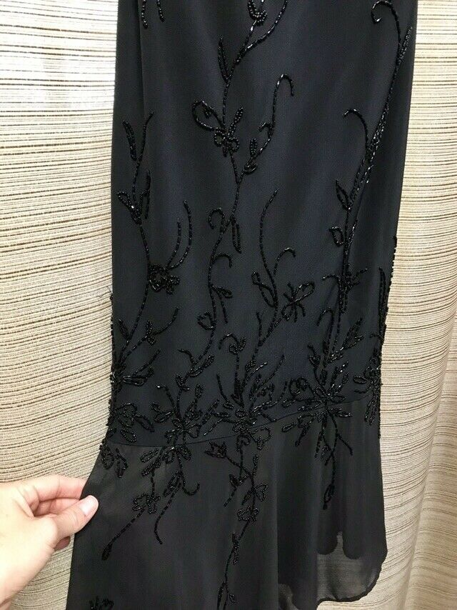 Donna Gray Women's Black Beaded Strappy Dress Size 4 Gown Draping At Neckline