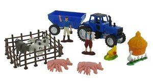 16 tlg. Spielzeug Traktor Bauernhof Spielset Bauernhoftiere Fahrzeuge (F199)