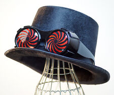 STEAMPUNK-GOTHIC-SCIFI-COSPLAY-VICTORIAN-TOP HAT-RED SWIRL OVERSIZE GOGGLES