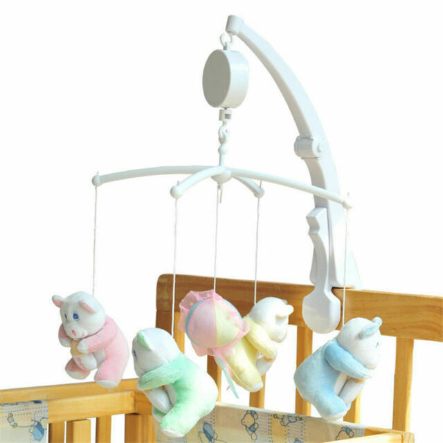 Babies Crib Bell Wind-up Music Box Newborn Rotary Mobile Crib Bed Bell Windup Movement Music Box with Rotating Hook White