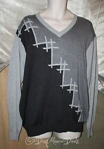 NEW-Mens-Size-XL-Button-Front-Sweater-Gray-Geometric-by-Greg-Norman-NWT-MSRP-99
