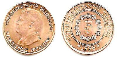 Twenty Eight Turkmenistan 5 Tennesi Coins,Uncirculated  KM 2