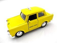 Trabbi Trabant TAXI GIALLO modello di auto in metallo 1:30, Diecast, auto DDR, NUOVO